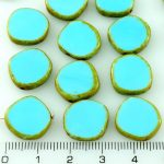Coin Round Window Table Cut Flat Czech Beads - Picasso Opaque Turquoise Blue Brown Striped - 15mm