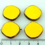 Coin Round Window Table Cut Flat Czech Beads - Picasso Opaque Yellow Brown - 22mm