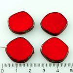 Coin Round Window Table Cut Flat Czech Beads - Picasso Opaque Red Coral Brown - 22mm