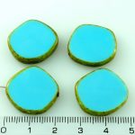 Coin Round Window Table Cut Flat Czech Beads - Picasso Opaque Turquoise Blue Brown - 22mm