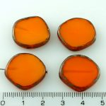 Coin Round Window Table Cut Flat Czech Beads - Picasso Amber Yellow Opal - 22mm