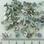 Bell Flower Caps Czech Beads - Crystal Silver Rainbow - 7mm