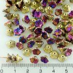 Bell Flower Caps Czech Beads - California Purple Violet Gold Half - 7mm