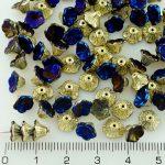 Bell Flower Caps Czech Beads - California Blue Gold Half - 7mm