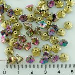 Bell Flower Caps Czech Beads - California Green Purple Gold - 7mm
