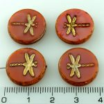 Coin Round Dragonfly Window Flat Czech Beads - Picasso Silky Pink Gold Wash - 17mm