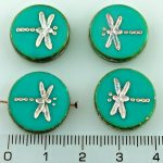 Coin Round Dragonfly Window Flat Czech Beads - Picasso Opaque Turquoise Green Silver Pink - 17mm