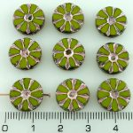 Flower Coin Table Cut Flat Czech Beads - Picasso Olive Green Silver Pink - 12mm