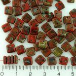 Square Paillettes Squarelet One Hole Chips Czech Beads - Picasso Brown Coral Red - 6mm