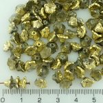 Bell Flower Caps Czech Beads - Crystal Metallic Gold Half - 7mm