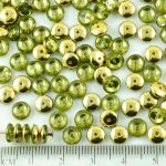 Disc Flat Disk One Hole Czech Beads - Crystal Olive Green Metallic Gold Half - 6mm