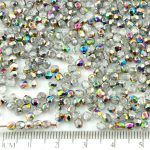 Round Faceted Fire Polished Czech Beads - Vitrail Rainbow Half Crystal - 3mm