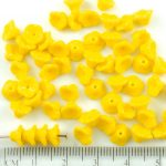 Bell Flower Caps Czech Beads - Opaque Citrine Yellow Lemon - 7mm