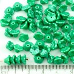 Bell Flower Caps Czech Beads - Pearl Shine Light Green Erinite - 7mm