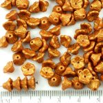 Bell Flower Caps Czech Beads - Gold Shine Amber Yellow Gold Matte Pearl - 7mm