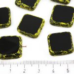 Square Flat Czech Beads - Picasso Yellow Opaque Jet Black - 18mm