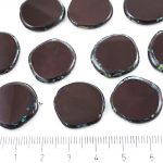 Coin Round Window Table Cut Flat Czech Beads - Picasso Opaque Dark Brown - 22mm