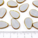 Teardrop Flat Window Table Cut Czech Beads - Picasso Brown Opaque Light Gray Grey - 18mm