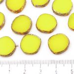 Coin Round Window Table Cut Flat Czech Beads - Picasso Brown Amber Yellow Opal Striped - 15mm