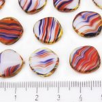 Coin Round Window Table Cut Flat Czech Beads - Picasso Brown Agate Red Blue White Mix - 15mm