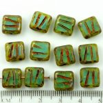 Square Window Table Cut Carved Flat Czech Beads - Picasso Brown Aquamarine Blue Opal - 10mm
