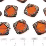 Square Flat Carved Window Table Cut Czech Beads - Picasso Crystal Orange Hyacinth Dark Travertine Red - 15mm