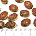 Oval Kiwi Window Table Cut Flat Czech Beads - Picasso Amber Yellow Opal - 14mm