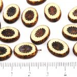 Oval Kiwi Window Table Cut Flat Czech Beads - Picasso Opaque Ivory Brown - 14mm