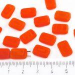 Rectangle Rustic Table Cut Flat Two Hole Czech Beads - Matte Opal Orange Amber - 12mm