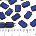 Rectangle Rustic Table Cut Flat Two Hole Czech Beads - Picasso Brown Crystal Royal Blue Sapphire - 12mm