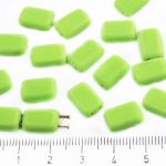 Rectangle Rustic Table Cut Flat Two Hole Czech Beads - Matte Opaque Green - 12mm