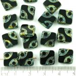 Square Window Table Cut Flat Dotted Czech Beads - Picasso Brown Opaque Jet Black - 10mm