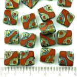 Square Window Table Cut Flat Dotted Czech Beads - Picasso Brown - 10mm