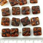 Square Window Table Cut Flat Dotted Czech Beads - Picasso Brown Purple Opal - 10mm