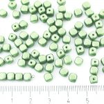 Imitation Small Cube Square Rounded Edge Czech Beads - Green Pearl - 5mm