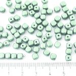 Imitation Small Cube Square Rounded Edge Czech Beads - Emerald Light Green Pearl - 5mm