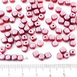 Imitation Small Cube Square Rounded Edge Czech Beads - Wine Red Pearl - 5mm