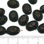 Oval Kiwi Window Table Cut Flat Czech Beads - Crystal Green Rustic Picasso - 14mm