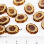 Oval Kiwi Window Table Cut Flat Czech Beads - Picasso Brown Opaque Silky Beige Ivory - 14mm