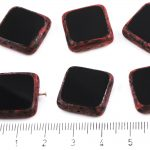 Square Flat Czech Beads - Picasso Red Opaque Jet Black - 18mm