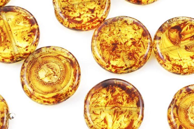 Flat Round Coin Czech Beads