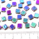 Square Silky Two Hole Flat Czech Beads - Metallic Vitrail Purple Blue Green - 6mm