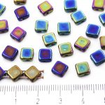 Square Silky Two Hole Flat Czech Beads - Metallic Iris Blue - 6mm