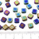 Square Silky Two Hole Flat Czech Beads - Metallic Iris Blue - 6mm