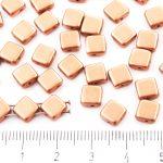 Square Silky Two Hole Flat Czech Beads - Matte Metallic Copper Bronze - 6mm