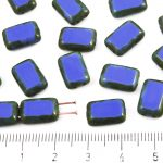 Rectangle Rustic Table Cut Flat Two Hole Czech Beads - Picasso Brown Opaque Opaque Medium Dark Blue Sapphire - 12mm