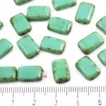 Rectangle Rustic Table Cut Flat Two Hole Czech Beads - Picasso Dark Rustic Brown Turquoise Green - 12mm
