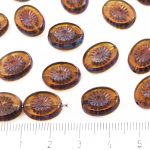 Oval Kiwi Window Table Cut Flat Czech Beads - Picasso Crystal Smoked Yellow Topaz - 14mm
