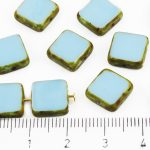 Square Flat Czech Beads - Picasso Brown Opaque Turquoise Blue - 10mm