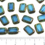 Rectangle Rustic Table Cut Flat Two Hole Czech Beads - Picasso Brown Crystal Turquoise Aqua Blue Moonstone Moonlight Opal - 12mm